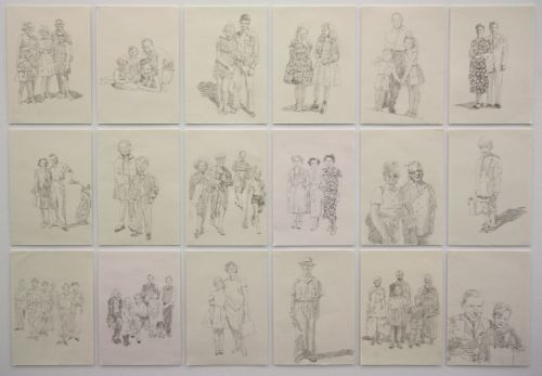 Click the image for a view of: Ruth Rosengarten. Untitled (Photographs). 2011. pencil on paper. Installation view